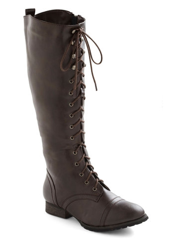 Crossing Borders Boot in Brown - Brown, Solid, Military, Lace Up, Low, Faux Leather, Winter, Good