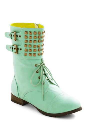 Dream Come Julep Boot - Green, Solid, Studs, Low, Lace Up, 90s, Urban, Pastel, Mint