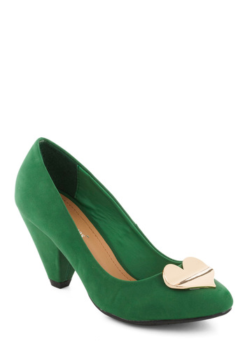 Heart for the Hills Heel - Green, Solid, Mid, Party, Holiday Party, Vintage Inspired, 50s