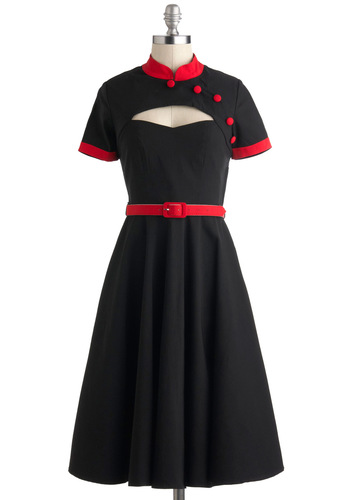 Likability Points Dress - Black, Red, Buttons, Cutout, Belted, Short Sleeves, Long, Rockabilly, Fit & Flare, Collared, Party, Work, Vintage Inspired