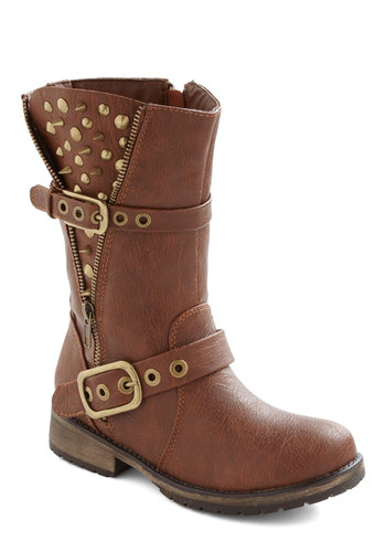 Open Spike Night Boot - Tan, Solid, Buckles, Exposed zipper, Studs, Low, Faux Leather, Statement, Urban