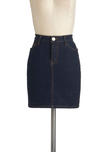 Simply The West Skirt - Cotton, Denim, Short, Blue, Solid, Casual, Pockets, Vintage Inspired
