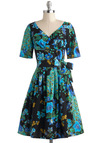 Say It Like You Mean It Dress in Midnight Blooms - Multi, Print with Animals, Pleats, Party, Fit & Flare, Short Sleeves, V Neck, Cotton, Long, Blue, Floral, Belted, Daytime Party, Variation