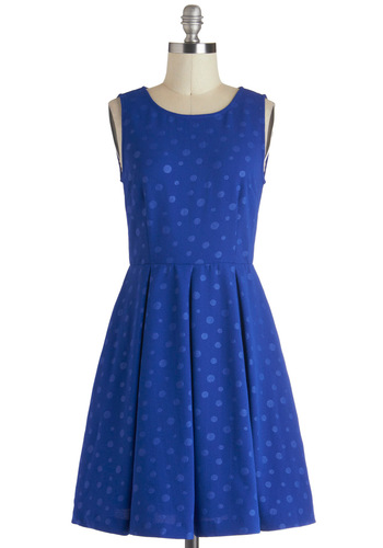 Feeling Marble-ous Dress - Mid-length, Blue, Pleats, Party, A-line, Sleeveless, Polka Dots, Pockets, Exclusives