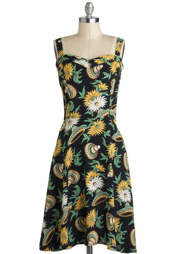 Oh Sol Festive Dress - Long, Black, Yellow, Green, White, Floral, Pockets, A-line, Sleeveless, Novelty Print, Daytime Party