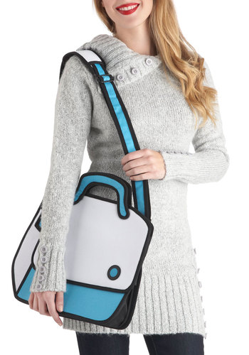 Work Illustrated Bag - Solid, Quirky, Blue, White, Casual