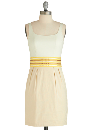 Sunny Style Up Dress - Short, Cotton, Yellow, Tan / Cream, Pleats, Casual, Shift, Sleeveless, Exclusives, White