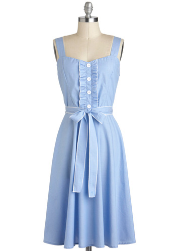 About the Musician Dress in Sky - Blue, White, Buttons, Belted, Casual, Pastel, A-line, Sleeveless, Spring, Cotton, Long, Vintage Inspired, Summer, Sundress