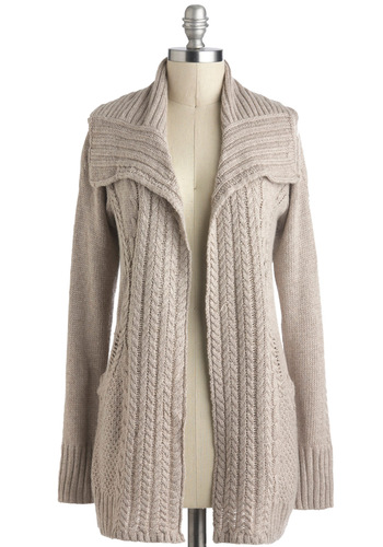 Wrapping Presents Cardigan - Tan, Solid, Knitted, Casual, Long Sleeve, Pockets, Rustic, Mid-length