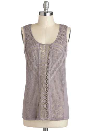 Interlacing Tastes Top - Sheer, Mid-length, Purple, Solid, Crochet, Sleeveless, Casual, Vintage Inspired, Scoop