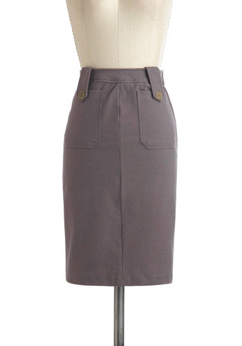 Chi Town Casual Skirt - Grey, Solid, Buttons, Pockets, Casual, Cotton, Mid-length, Pencil, Minimal, Work