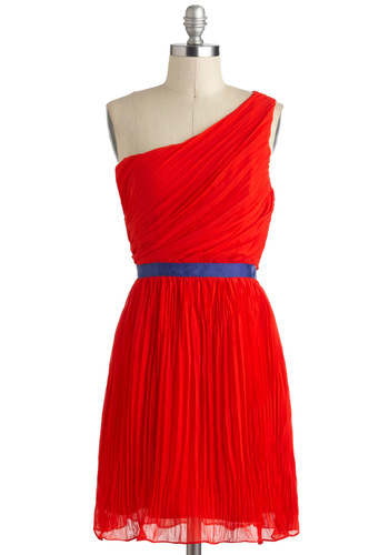 Ode to a Grecian Sojourn Dress - Chiffon, Mid-length, Red, Ruching, Party, A-line, One Shoulder, Cutout, Colorblocking