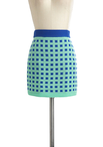 Tile It Like It Is Skirt - Short, Mint, Blue, Checkered / Gingham, Mini, Casual
