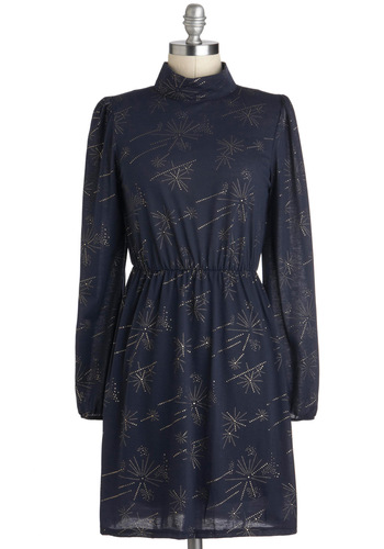 Sparkle My Interest Dress - Mid-length, Blue, Gold, Studs, A-line, Long Sleeve, Party, Holiday Party, Vintage Inspired