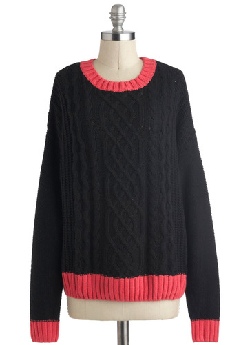 Cable Boxy Sweater - Black, Pink, Knitted, Long Sleeve, Solid, Casual, Colorblocking