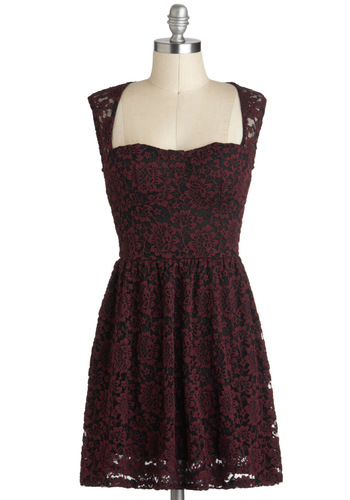 Threads of Timelessness Dress - Lace, A-line, Sleeveless, Sheer, Short, Black, Party, Red, Holiday Party, Vintage Inspired