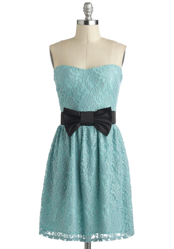 Party Performance Dress - Blue, Black, Bows, Lace, Pastel, A-line, Strapless, Sweetheart, Wedding, Party, Mid-length, Bridesmaid