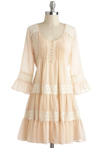 Acoustic Coffee Shop Dress - Cream, Eyelet, White, Buttons, Ruffles, Daytime Party, Pastel, 3/4 Sleeve, Boho, Chiffon, Short, Scoop