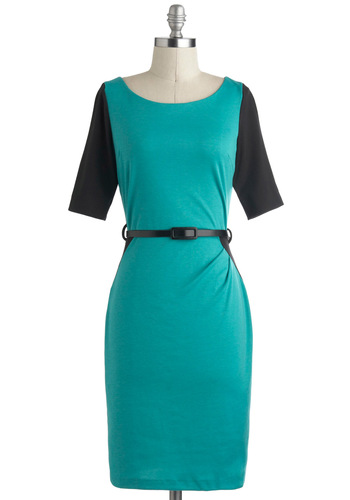 Smitten With Cyan Dress - Green, Black, Belted, Work, Sheath / Shift, Boat, Mid-length, Colorblocking, Short Sleeves