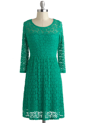 Clover to Clover Dress - Green, Solid, Cutout, Casual, A-line, 3/4 Sleeve, Sheer, Short