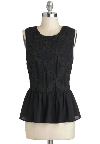 The Whole Whirl 'Round Top - Black, Peplum, Sleeveless, Mid-length, Exposed zipper, Party, Work, Black, Sleeveless