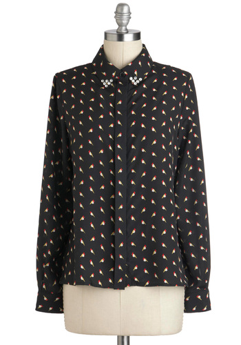 Greeting Cardinal Top - Black, Red, Yellow, White, Print with Animals, Buttons, Rhinestones, Work, Long Sleeve, Collared, Mid-length, Casual