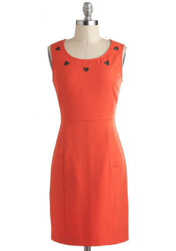 Swoon Enough Dress - Orange, Solid, Pockets, Sheath / Shift, Party, Work, Sleeveless, Cutout, Vintage Inspired, Mid-length, Halloween, Valentine's