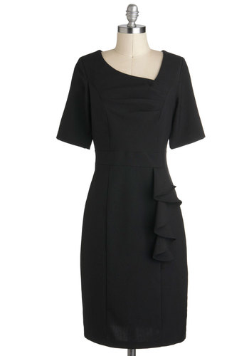 Profesh Start Dress - Black, Solid, Ruffles, Work, Shift, Short Sleeves, Long