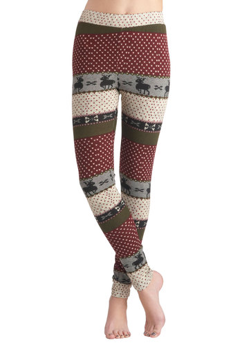 Deer Me Out Leggings in Berry by Ryu - Red, Tan / Cream, Black, Grey, Casual, Vintage Inspired, Winter, Holiday