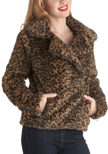All Faux You Jacket - Short, 2, Brown, Black, Animal Print, Pockets, Party, Girls Night Out, Long Sleeve, Fall, Winter