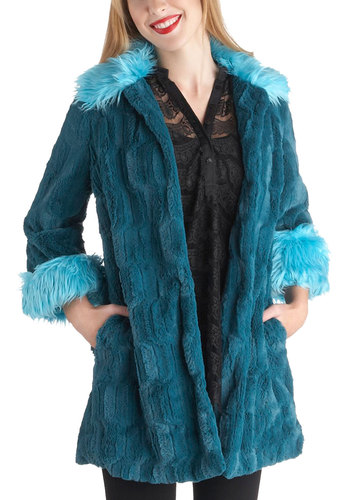 Drive-in Groovy Coat - Blue, Casual, Long Sleeve, Winter, Long, Quirky, 2, Pockets, Party, Vintage Inspired, 70s