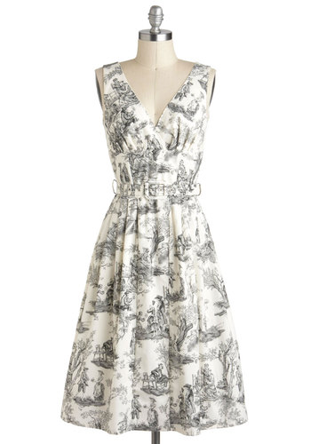 Bygone Days Dress in Skeleton Toile - White, Black, A-line, V Neck, Cotton, Long, Grey, Print, Belted, Sleeveless, Party, Daytime Party, French / Victorian, Rockabilly, 50s, Graduation