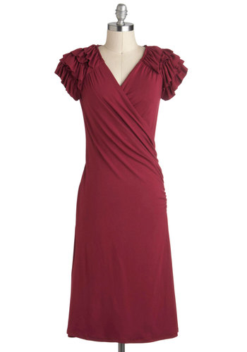 Essence of Cranberry Dress - Red, Solid, Ruffles, Sheath / Shift, V Neck, Party, Work, Vintage Inspired, Minimal, Holiday Party, Long, Top Rated