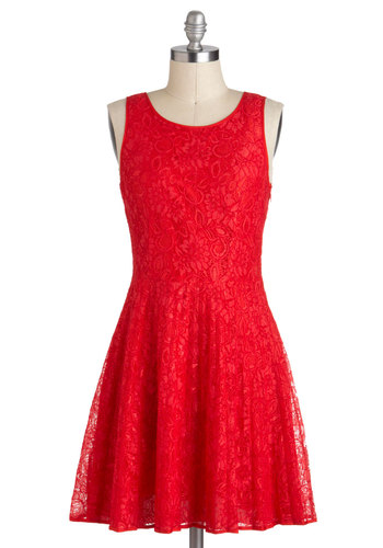 Whatever Ruby, Will Be Dress by Jack by BB Dakota - Red, Solid, Lace, Party, Vintage Inspired, A-line, Sleeveless, Backless, Mid-length