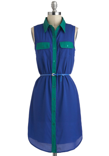 First Resort Dress - Mid-length, Blue, Green, Pockets, Belted, Casual, Sleeveless, Exclusives, Shirt Dress, Button Down, Collared, Beach/Resort, Travel, Summer