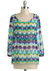 Kaleidoscope of Kudos Top - Mid-length, Multi, Yellow, Blue, Purple, Print, Work, Long Sleeve, Casual