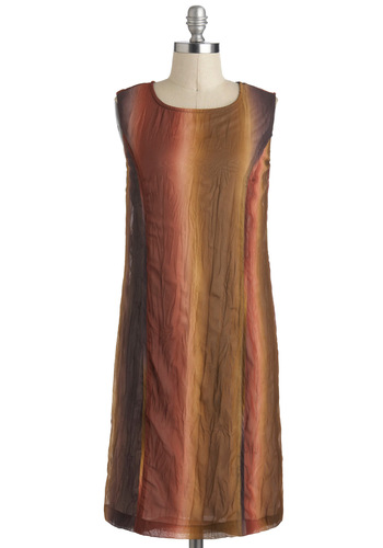 Home Sweet Loam Dress - Mid-length, Brown, Multi, Casual, Shift, Sleeveless, Folk Art