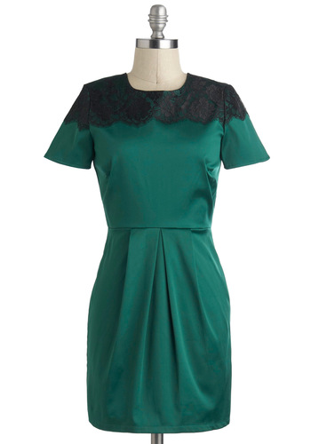 My Tsavorite Things Dress - Green, Black, Backless, Lace, Party, Holiday Party, Short Sleeves, Short, Cocktail