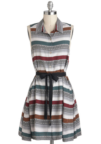 Virtual Locality Dress by Jack by BB Dakota - Multi, Casual, Shirt Dress, Sleeveless, Grey, Stripes, Buttons, Belted, Button Down, Collared, Mid-length