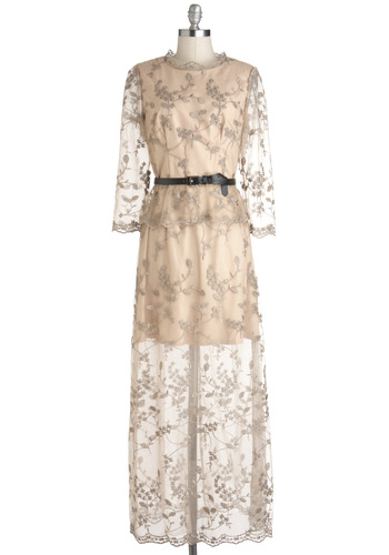Awards Banquet Presenter Dress - Cream, Special Occasion, Wedding, Vintage Inspired, Maxi, 3/4 Sleeve, Sheer, Long, Embroidery, Belted, Luxe, Fairytale, Bride