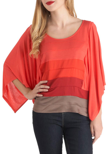 Fade To Play Top by Gentle Fawn - Mid-length, Red, Brown, Casual, 3/4 Sleeve, Boho, Colorblocking, Coral, Scoop