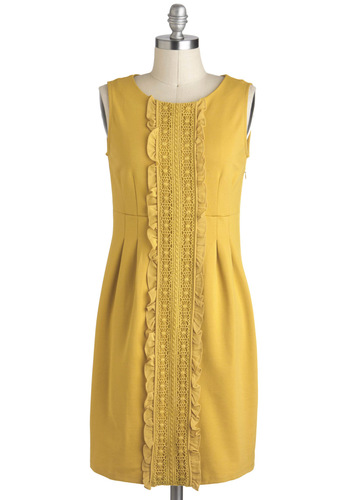 Window Seat Dress - Jersey, Mid-length, Yellow, Solid, Embroidery, Ruffles, Sheath / Shift, Sleeveless, Work, Casual, 60s, Mod