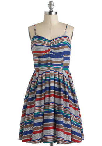 Honors College Dress by Jack by BB Dakota - Blue, Multi, Stripes, Casual, Spaghetti Straps, A-line, Sheer, Mid-length