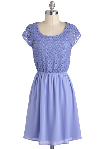 Lotus Be Friends Dress - Sheer, Mid-length, Purple, Solid, Crochet, Casual, Pastel, A-line, Cap Sleeves, Spring