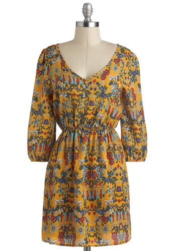 Taos Party Dress - Yellow, Multi, Cutout, Casual, A-line, 3/4 Sleeve, V Neck, Short, Print, Boho