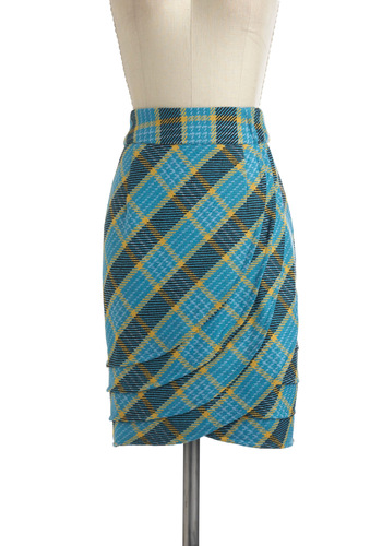 Kentucky Blue Lass Skirt - Blue, Yellow, Plaid, Pleats, Work, Pencil, Scholastic/Collegiate
