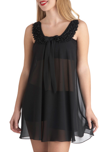 Everything Your Sway Nightgown - Black, Solid, Beads, Bows, Chiffon, Sheer