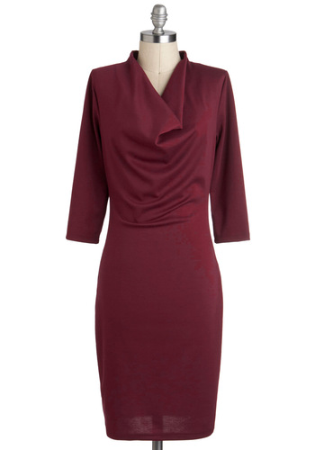 Simply Syrah Dress - Red, Solid, Casual, 3/4 Sleeve, Cowl, Long, Work, Shift, Minimal
