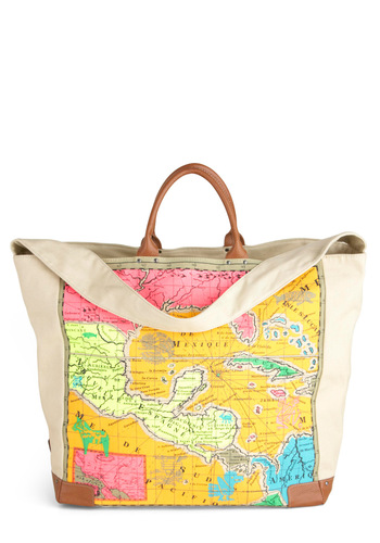 Mix and Map Tote - Multi, Novelty Print, Travel, Cotton, Leather, Graduation, Eco-Friendly