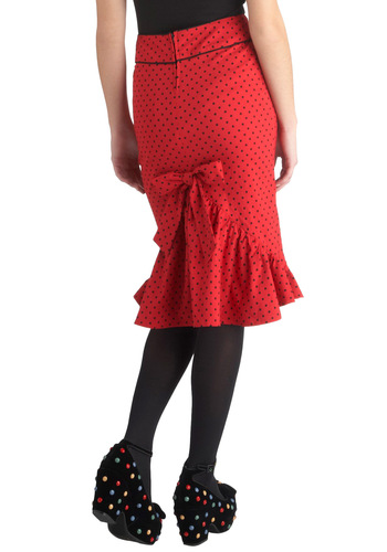 All That Snazzy Skirt - Red, Polka Dots, Ruffles, Pencil, Rockabilly, Pinup, Vintage Inspired, Holiday Party, Red, Long